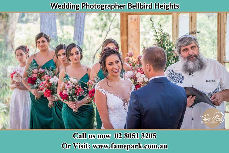 Photo of the Bride and the Groom during the ceremony Bellbird Heights