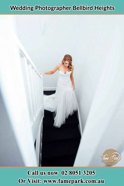 Photo of the Bride walking down the stairs Bellbird Heights