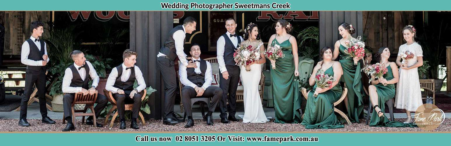 Photo shoot of the Bride and Groom with their Secondary Sponsors Sweetmans Creek